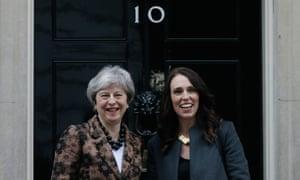 Theresa May with Jacinda Ardern at No 10 on Monday.
