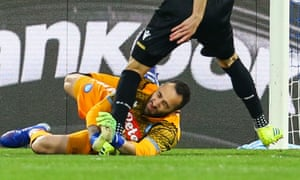 Napoli goalkeeper David Ospina collapsed after sustaining a blow to the head in a collision with Udinese's forward Ignacio Pussetto.