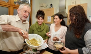 Jeremy Corbyn takes part in a class showing how to make cheap healthy food during a visit to Centrepoint hostel in south London.