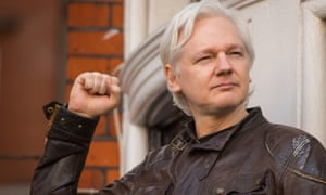 Julian Assange outside the Ecuadorian embassy in London