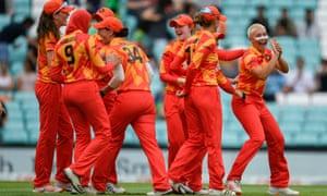 Isabelle Wong of Birmingham Phoenix celebrates taking the wicket of Georgia Adams