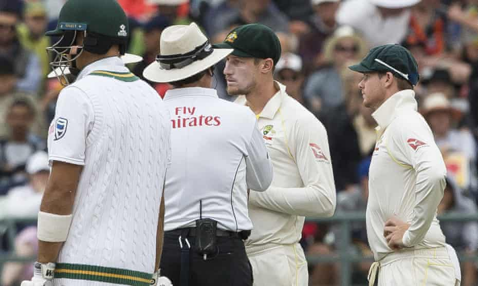 Cameron Bancroft talks to the umpire during the ball-tampering incident during the third Test between South Africa and Australia in Cape Town.