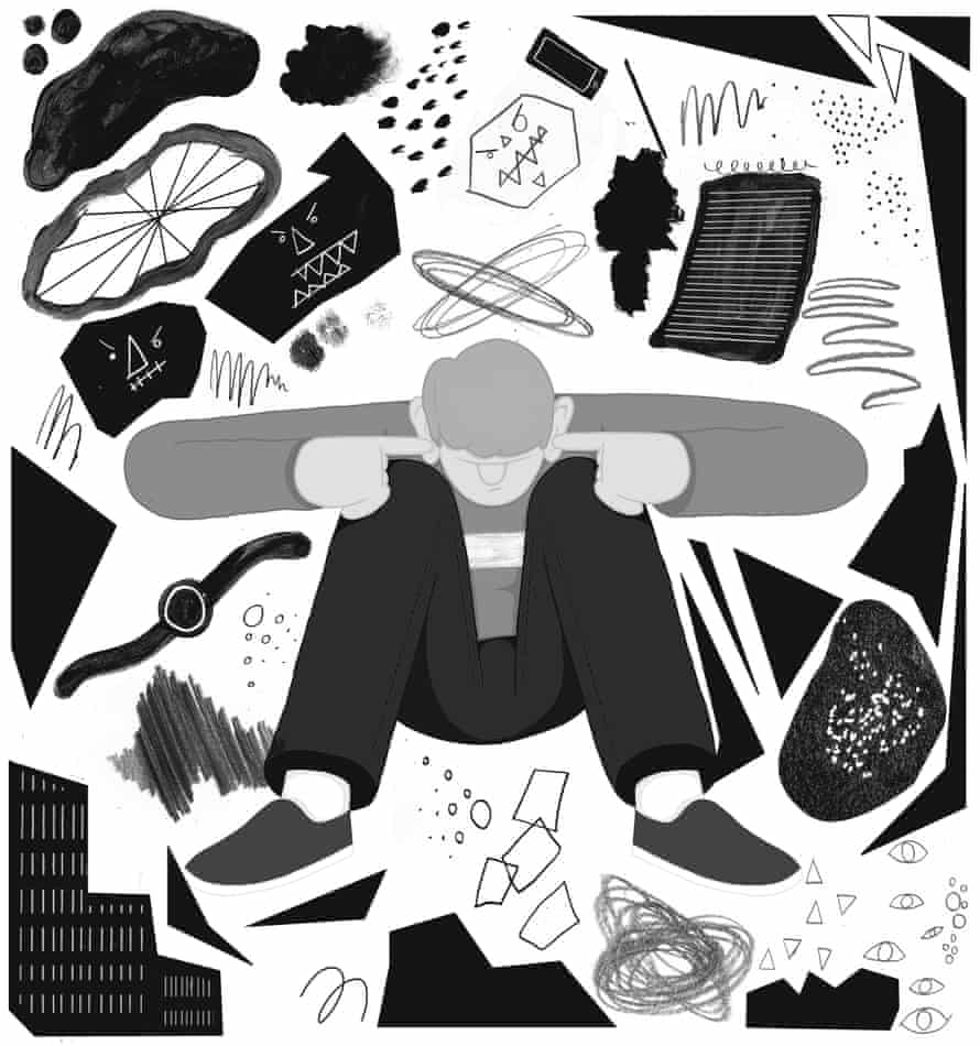 Illustration by Michael Driver of a man trying to block out anxieties.