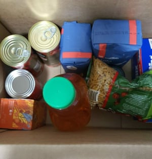 A food box supplied to residents in the Flemington public housing estate after a Covid-19 outbreak caused a strict lockdown.