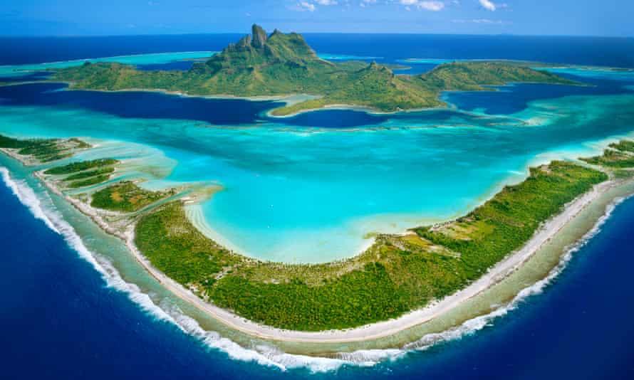 View over the barrier reef around Mount O' Temanu, Bora Bora, Tahiti.