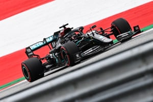 Lewis Hamilton takes part in a practice session ahead of the Austria GP.