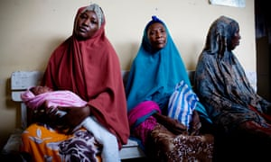 Women wait to see a health assistant at the Shibis health centre.