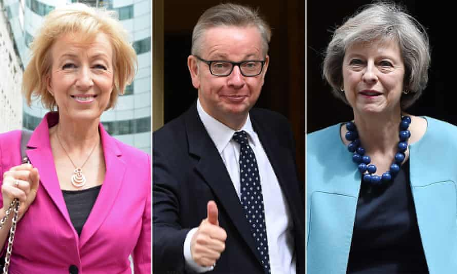 L to R: Andrea Leadsom, Michael Gove and Theresa May.