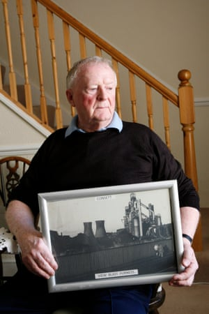 Ex-steelworker Mick Curran with one of his photographs