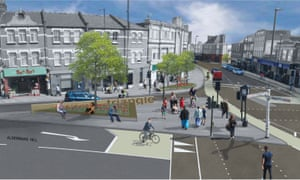 How Palmers Green Triangle could look with a flower bed, a couple of trees and no metal barriers