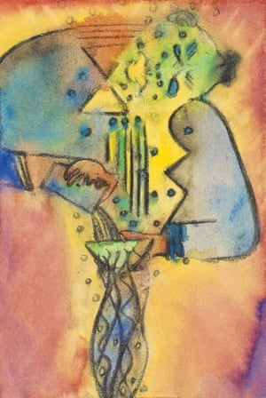 Balotelli (Sweet Cocktail) 4, 2014 , Ofili's original watercolour detail for the tapestry