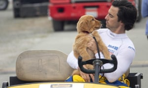 Milo Ventimiglia with Enzo the dog, voiced by Kevin Costner.