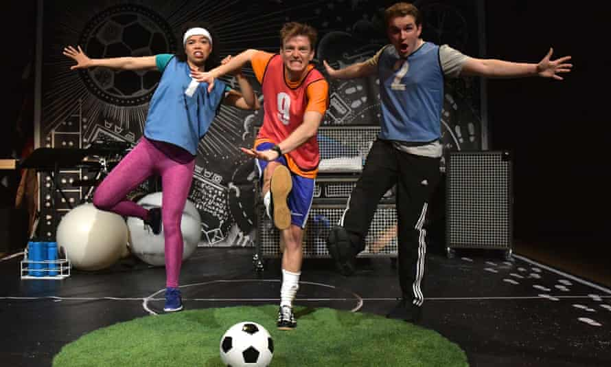 Goal! ... Eden Dominique, Danny Childs and Vittorio Angelone in Keepy Uppy at York Theatre Royal.