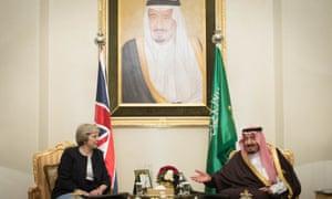 Theresa May meets King Salman bin Abdulaziz al Saud of Saudi Arabia in Manama.