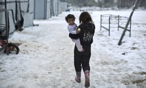 Snow covered refugee camp in Greece