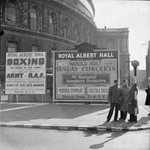 Poster boards outside the North Entrance advertising forthcoming events in 1943