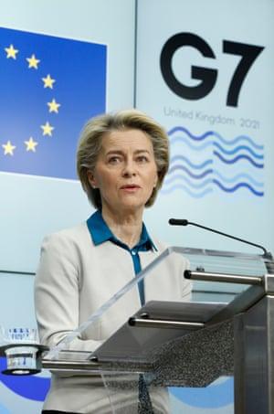 Ursula von der Leyen at her press conference in Brussels this morning.