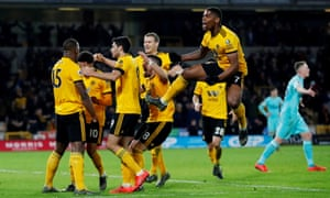 Willy Boly celebrates the late equaliser for Wolves.