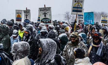 Activists at Standing Rock have faced blizzard conditions at the camp during the winter months.