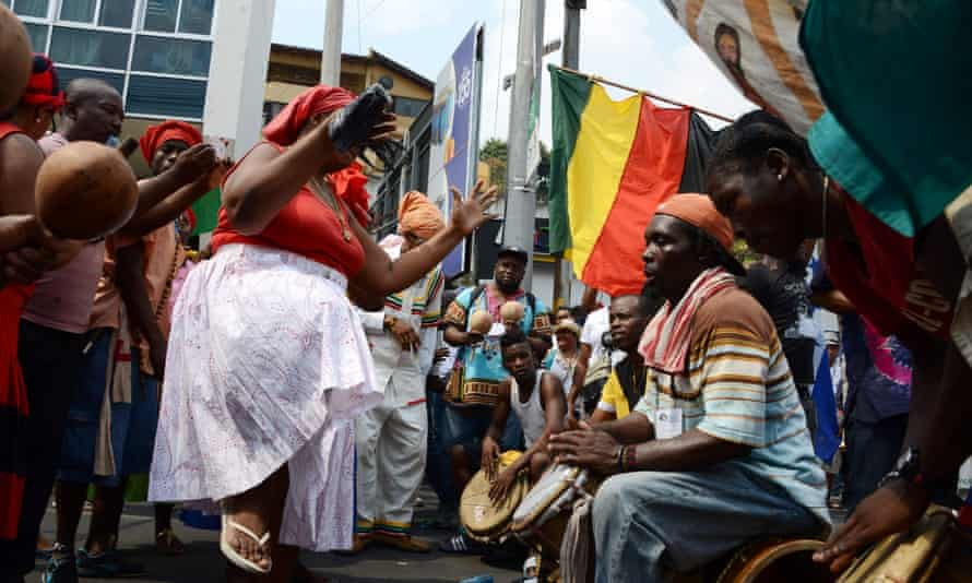 Lenca indigenous people and members of the local community protest near the presidential house in Tegucigalpa during the indigenous forum 'Berta Caceres Lives'.