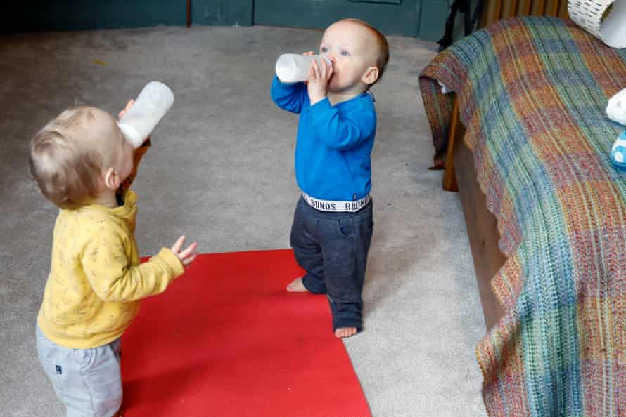 Reed and Aven feed themselves.