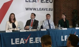 Arron Banks,second from right, with Brittany Kaiser of Cambridge Analytica, far right, at the launch of Leave.EU