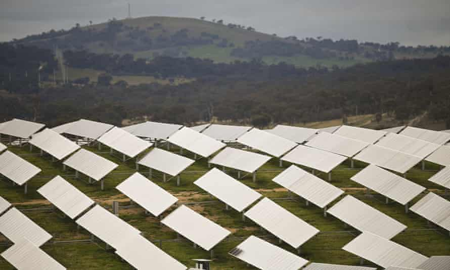 Solar panels at the Williamsdale solar farm outside Canberra