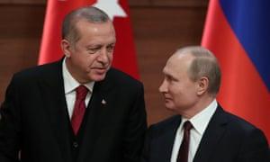Presidents Tayyip Erdoğan of Turkey and Vladimir Putin of Russia in Ankara.