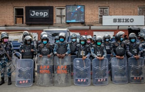 Kathmandu, Nepal Riot police stand guard during a rally in support of the prime minister, KP Sharma Oli