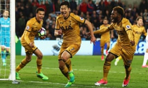 Son Heung-Min celebrates scoring Tottenham's late winner at the Liberty Stadium against Swansea after his side had trailed for most of the game.