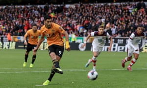 Raúl Jiménez scores for Wolves against Southampton.