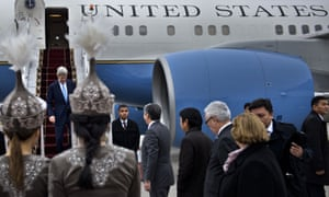 US Secretary of State John Kerry arrives in Bishkek, Kyrgyzstan on Saturday.