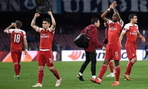 Lucas Torreira of Arsenal and Ainsley Maitland-Niles of Arsenal applaud the travelling Gooners.