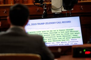 A portion of the transcript of the 25 July phone call between Trump and Zelensky is is displayed on a monitor.