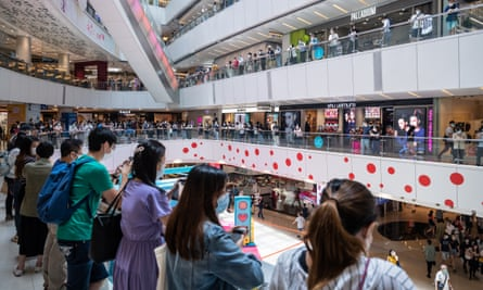 Pro-democracy supporters gather at a shopping mall  in Hong Kong on Friday.