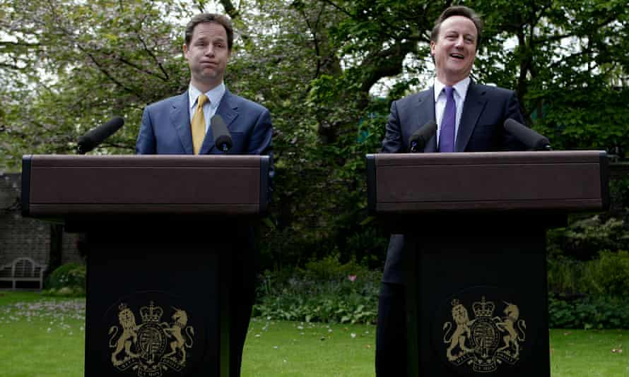 Clegg and Cameron hold their first joint news conference in the Downing Street garden.