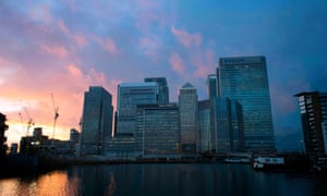 The financial sector in Canary Wharf, London.