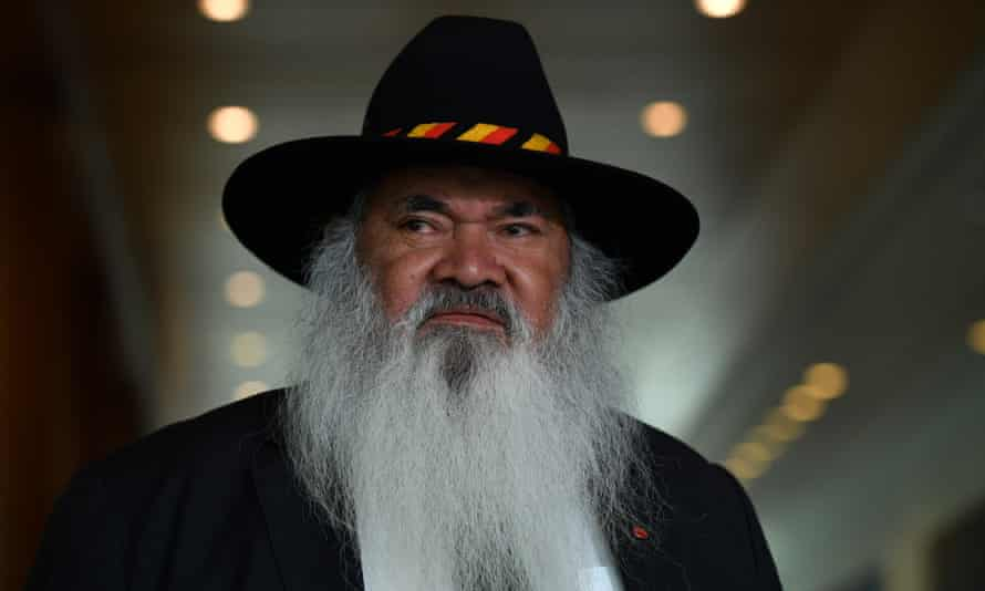 Labor senator Pat Dodson at a press conference at Parliament House in Canberra