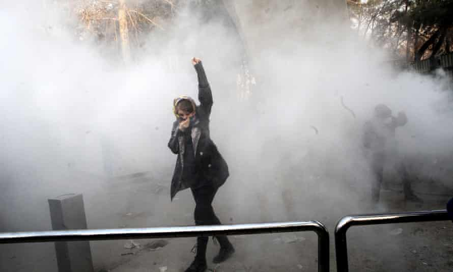 Teargas during protest