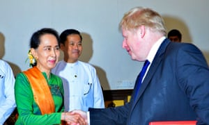 Boris Johnson meets Aung San Suu Kyi in Myanmar's capital of Naypyitaw