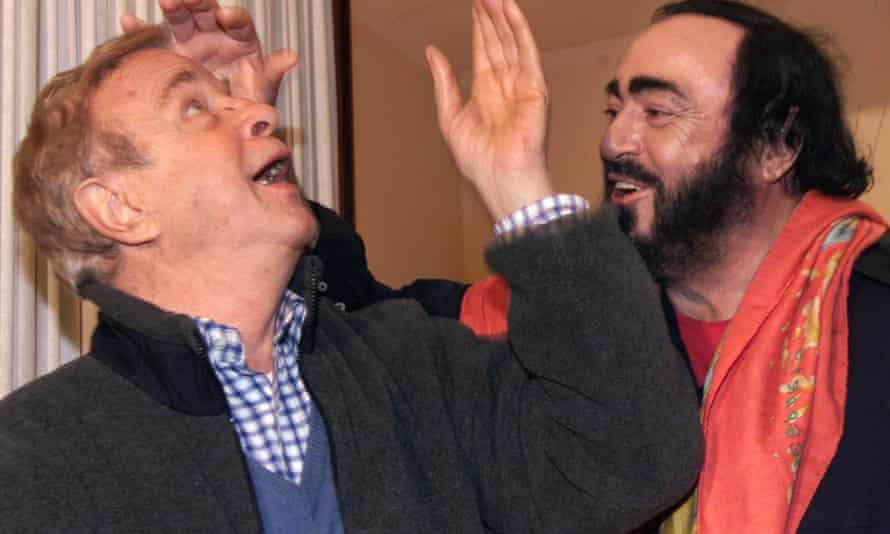 Franco Zeffirelli joking with the tenor Luciano Pavarotti at the time of their centenary production of Tosca in Rome, 2000.