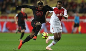 French forward Allan Saint-Maximin dribbles past Monaco's Jemerson before giving Nice the lead.
