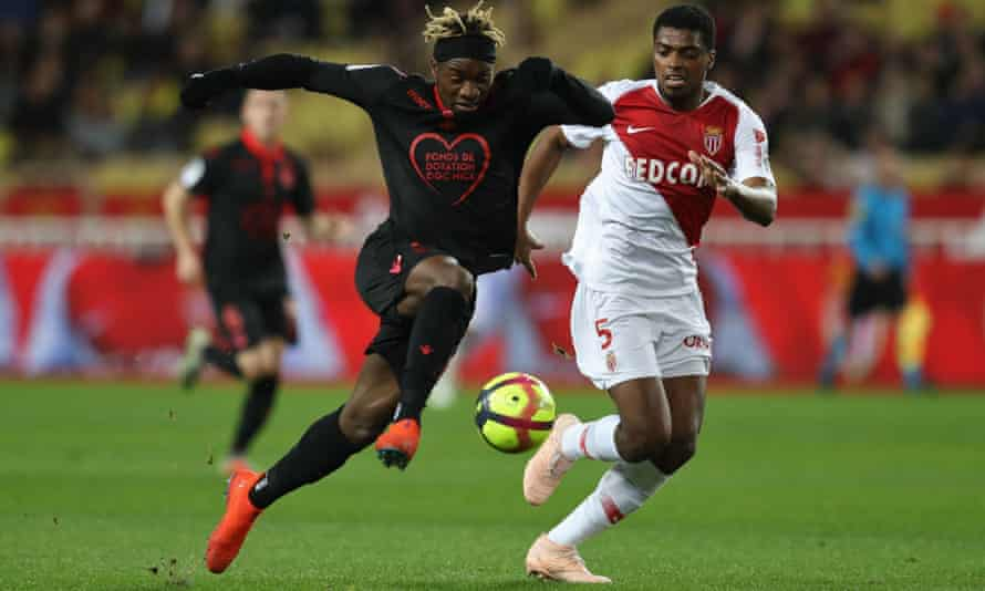 French forward Allan Saint-Maximin dribbles past Monaco's Jemerson before giving Nice the lead.