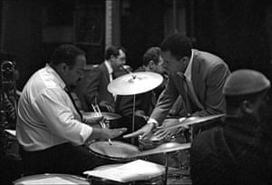 Berry Gordy with the band backstage at Finsbury Park Astoria, London for the opening of the Tamla-Motown UK tour, March 1965