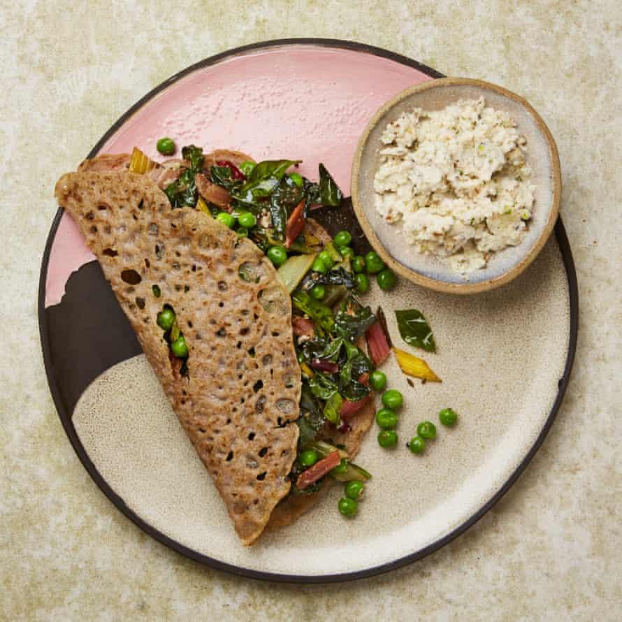 Meera Sodha's buckwheat dosas, coconut chutney and greens.