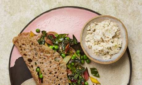 Meera Sodha's recipe for vegan dosa with coconut chutney and greens
