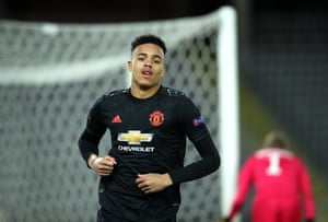 Greenwood of Manchester United celebrates after scoring his team's fourth goal.
