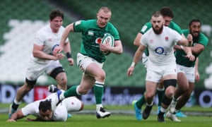 Ireland's Keith Earls runs in to score their first try.
