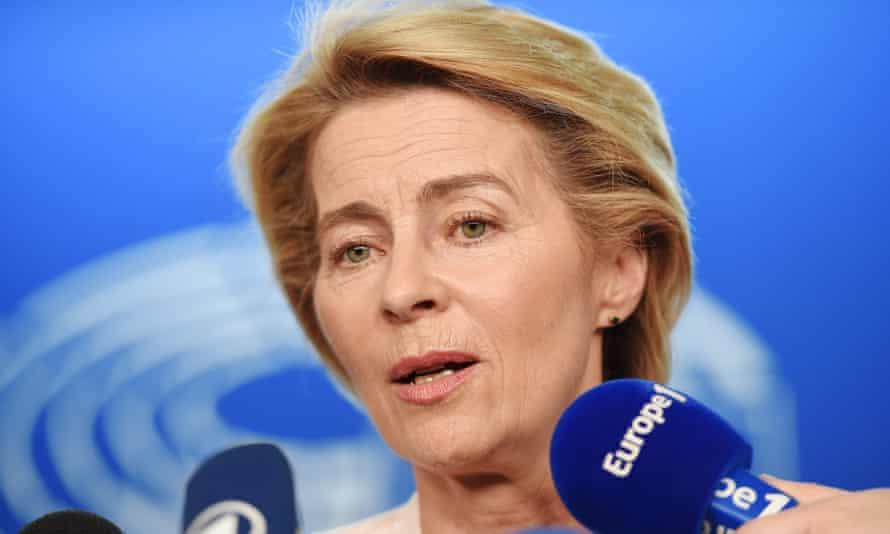 Ursula von der Leyen speaks to journalists at the European Parliament in Strasbourg.
