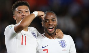 England v Kosovo - UEFA Euro 2020 Qualifier<br>SOUTHAMPTON, ENGLAND - SEPTEMBER 10: Jadon Sancho of England celebrates the fifth goal with Raheem Sterling during the UEFA Euro 2020 qualifier match between England and Kosovo at St. Mary's Stadium on September 10, 2019 in Southampton, England. (Photo by Mark Leech/Offside/Offside via Getty Images)